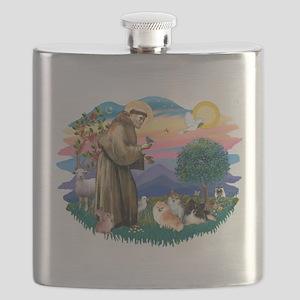 St.Francis #2/ Pomeranian(3) Flask