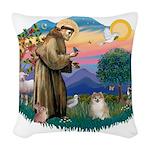 St.Francis #2/ Pomeranian (f) Woven Throw Pillow