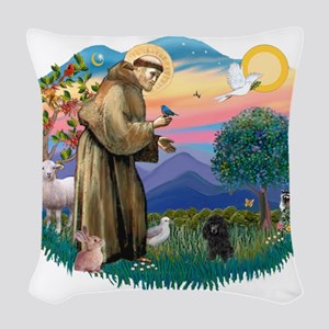 St.Francis #2/ Poodle (Toy Bl Woven Throw Pillow