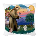 St.Francis #2/ Poodle (Toy W) Woven Throw Pillow