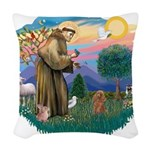 St.Francis #2/ Poodle (Toy A) Woven Throw Pillow