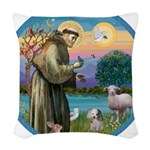 St Francis / Poodle (parti) Woven Throw Pillow