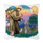 St.Fran #2/ Poodle (Std S) Woven Throw Pillow