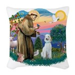 St.Francis #2/ Poodle (Std-Hv Woven Throw Pillow