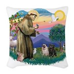 St.Francis #2/ Pugs (2-blk/f) Woven Throw Pillow