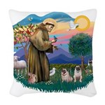 St.Francis #2/ Pugs (2 fawn) Woven Throw Pillow