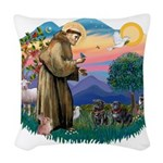 St.Francis #2/ Pugs (2 black) Woven Throw Pillow