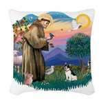 St.Francis #2/ Rat Terrier Woven Throw Pillow