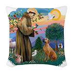 St.Francis #2/ R Rback #2 Woven Throw Pillow