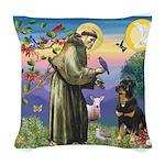 St Francis / Rottweiler Woven Throw Pillow