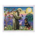 St Francis / Rottweiler Throw Blanket