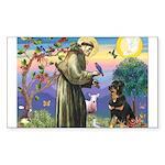 St Francis / Rottweiler Sticker (Rectangle 10 pk)