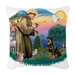St.Francis #2/ Rottweiler Woven Throw Pillow