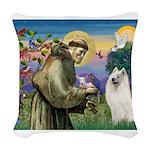 St Francis & Samoyed Woven Throw Pillow