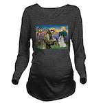 St Francis & Samoyed Long Sleeve Maternity T-Shirt