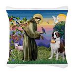 St. Francis/ St. Bernard Woven Throw Pillow