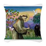 St Francis / Schipperke Woven Throw Pillow