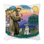 St.Francis #2/ Schnauzer #2 Woven Throw Pillow