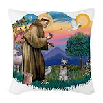St.Francis #2/ Schnauzer #1 Woven Throw Pillow