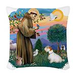 St.Francis #2/ Sealyham T Woven Throw Pillow