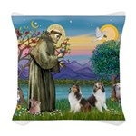 St.Francis (W) - 2 Shelties ( Woven Throw Pillow