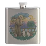 St.Francis (w) / 2 Shelties Flask