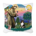 St.Francis #2/ Sheltie (tri) Woven Throw Pillow