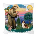 St.Francis #2/ Sheltie (sw) Woven Throw Pillow