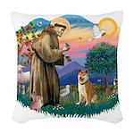 St Francis #2/ Shiba Inu Woven Throw Pillow
