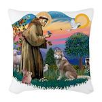 St.Francis #2/ S Husky #2 Woven Throw Pillow