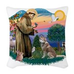 St.Francis #2/ S Husky #2 Woven Throw Pillow