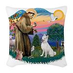St.Francis #2/ S Husky (W) Woven Throw Pillow