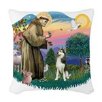 St.Francis #2/ Siberian #3 Woven Throw Pillow