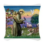 St.Francis #2 / Red Husky Woven Throw Pillow