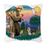 St.Francis #2/ Silky Ter.#9 Woven Throw Pillow