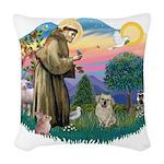 St.Francis #2/ Tibetan Spani Woven Throw Pillow