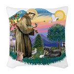 St.Francis #2/ Tibetan Spani Woven Throw Pillow