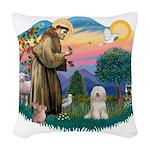 St.Fran#2/ Tibetan Terrier Woven Throw Pillow