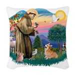 St.Francis #2/ Welsh Corgi Woven Throw Pillow