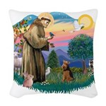 St.Francis #2/ Welsh Ter Woven Throw Pillow