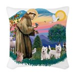 St.Francis #2/ Westies (2) Woven Throw Pillow