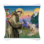 St. Fran #2 / Wheaten Terrier Woven Throw Pillow