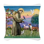 St Francis / Whippet Woven Throw Pillow