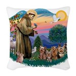 St.Francis #2/ Yorkies (4) Woven Throw Pillow