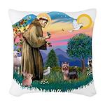 St.Francis #2/ Yorkie (#9) Woven Throw Pillow
