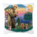 St. Francis / 2 Yorkies Woven Throw Pillow