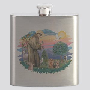 St. Francis / 2 Yorkies Flask