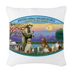 St Francis / dogs-cats Woven Throw Pillow