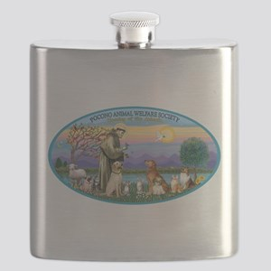 St Francis / dogs-cats Flask