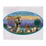 St Francis / dogs-cats Throw Blanket